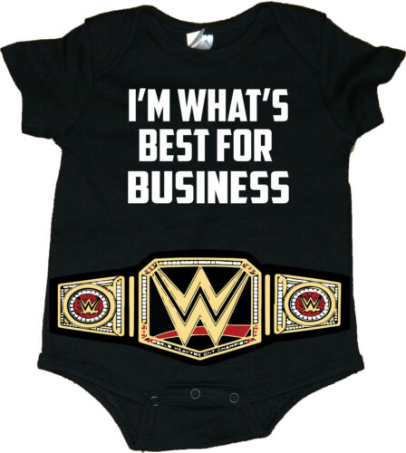 """/""""I/'m What/'s Best For Business/"""" WWE Baby Creeper//Bodysuits With Belt"""