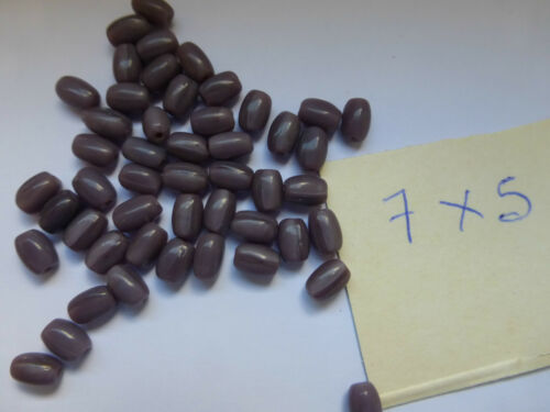 petit lot de 50 PERLES en VERRE ANCIENNE forme OLIVE ovale violet aubergine