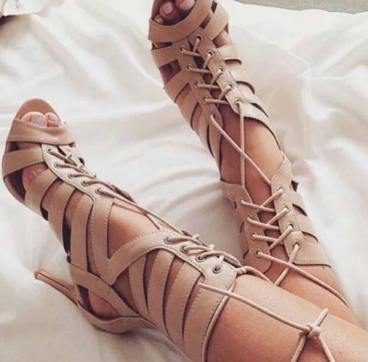 Women Strap Lace Up Peep Toes Toes Toes Sandal Gladiator High Heel Boots Punk Sexy shoes fe75fd
