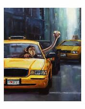 Rush Hour by Lucia Heffernan Art Print Poster Funny Ny Taxi Monkey Ostrich 11x14