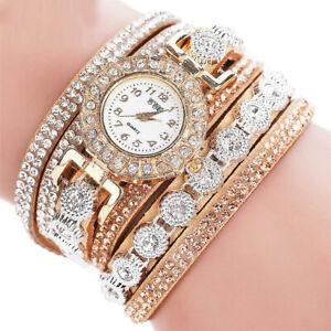 Frauen-Mode-Lederband-Analog-Quarz-Strass-Uhr-Armband-Uhr-Geschenk