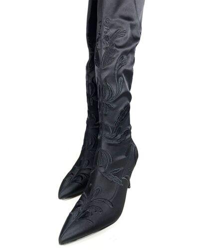 5 38 over låret brodert stoff av stilstøvler Zara kneet Sort Bnwt qz8TWHwq