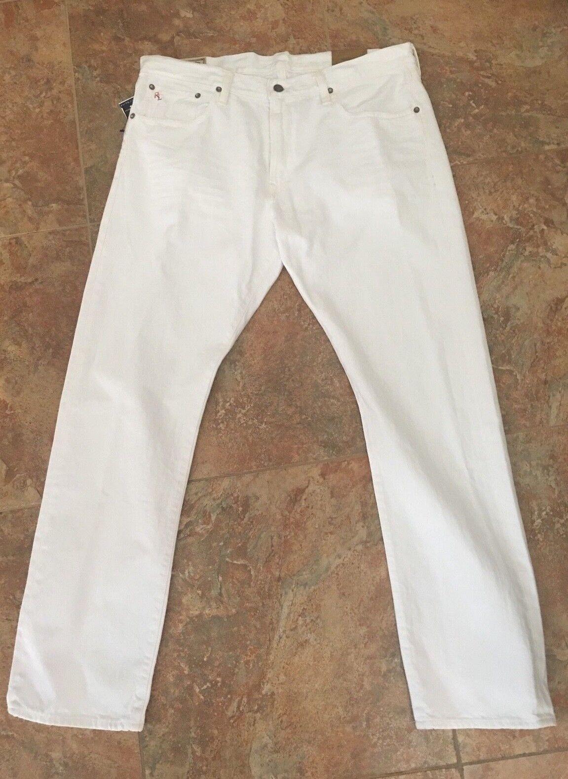 NWT Polo Ralph Lauren Mens Jeans Hampton Straight Hudson White Size 38 W x 30 L