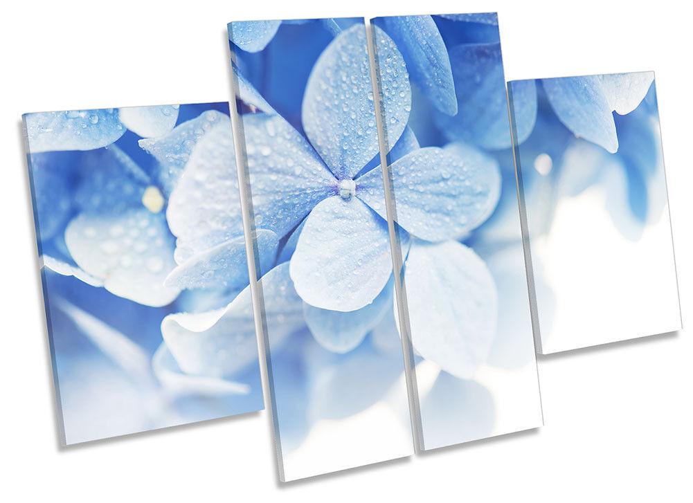 Blau Floral Leaves Framed CANVAS PRINT Four Panel Wall Art