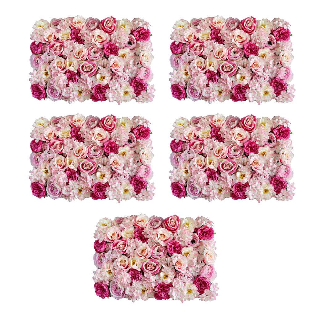 5pcs Soie Fleur Mur Panneau Maison Suspendu Mariage Toile De Fond décor rose rose