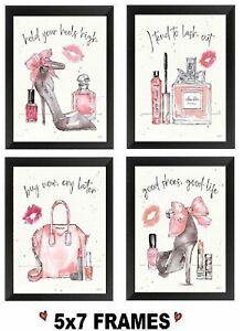5x7-Pink-Paris-Pictures-Shoes-Purse-Perfume-Make-Up-High-Heels-Wall-Hangings
