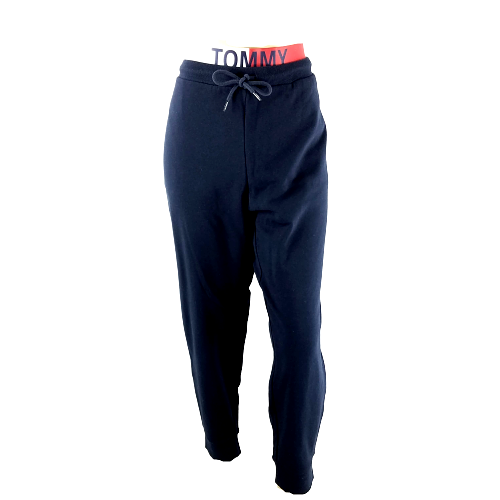 Tommy Hilfiger Size XL Womens Jogger Sweatpants Spell Out Elastic Waist Blue