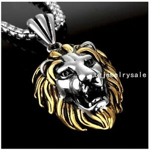 Fashion-Best-Gift-Stainless-Steel-Silver-Gold-Mens-Lion-Head-Pendant-Necklace