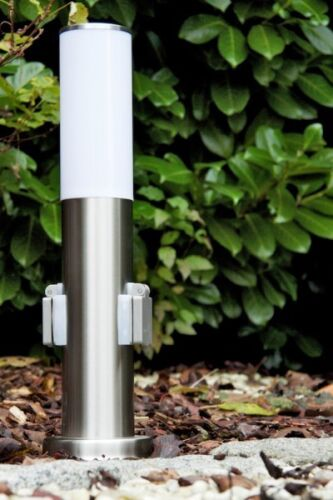 Acier Inoxydable Lampadaire Lampadaire extérieur Lampe socle Luminaire avec 2 prises