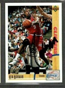 1991 Upper Deck #111 Ken Norman Los Angeles Clipper Basketball Signed Autograph