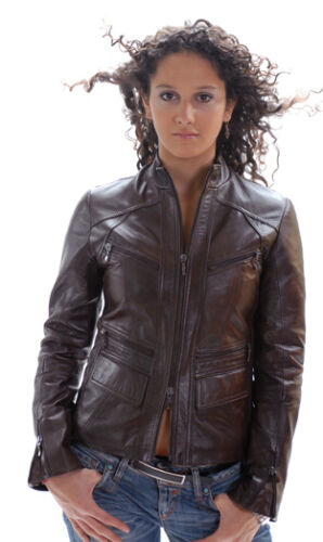 Brown Italian Fitted Women Dark M Lambskin Sz Handmade Leather Jacket A0ZwA