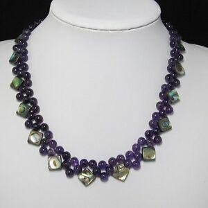 Edelsteinkette-Halskette-48cm-aus-Amethyst-Multi-Reihen-Paua-u-925-Silber