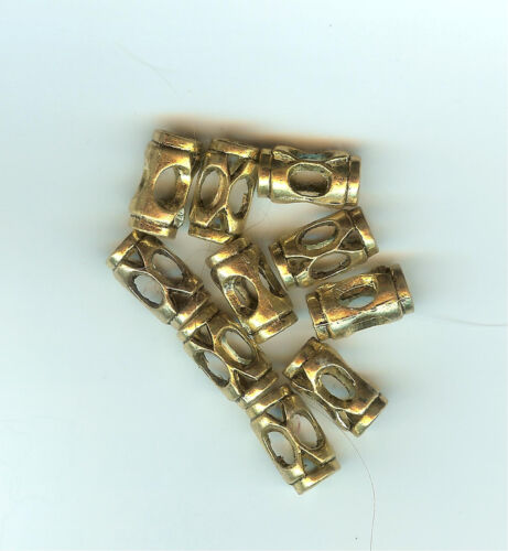 5mm hole GOLD METAL BEADS 25 7x13m CLEARANCE -