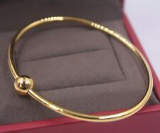 AU750 Pure 18K Multi-Tone Gold Bangle Elegant Women Carved Fine Bracelet 1.5g