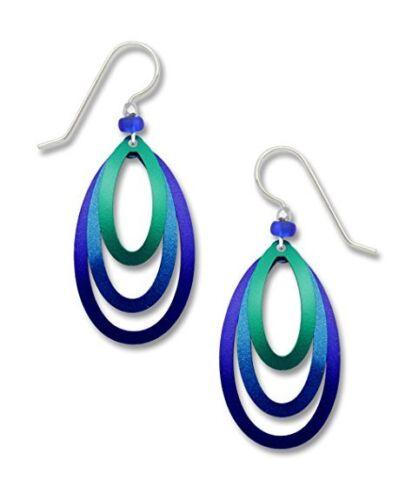 Adajio-Jewelry-3-Part-Open-Stack-OVAL-EARRINGS-STERLING-Silver-Dangle-7690-Box