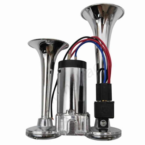 Motorcycle Car Air Horn Compressor with Wires and Relay Dual Trumpet 130DB 12V