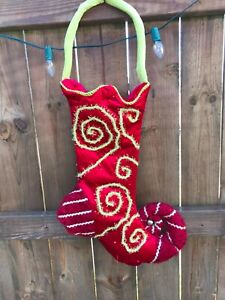 Large Elf Jester Christmas Hanging Stocking Ornate Red ...