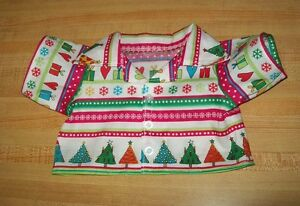 CHRISTMAS-STRIPES-TREE-PRESENTS-BUTTON-FRONT-SHIRT-for-16-034-CPK-Cabbage-Patch-kid