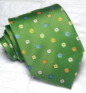 Cravatta-uomo-Classica-verde-floreale-JACQUARD-100-seta-Made-in-Italy-RP-38