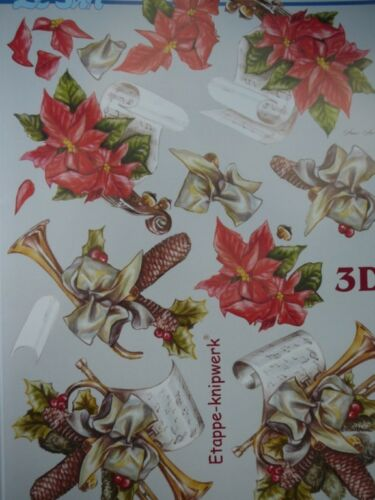 Christmas Card Making 3D Paper Tole Music Trumpet Poinsettia