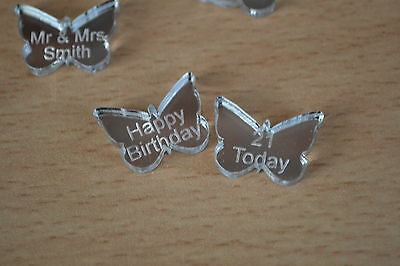 Mirror acrylic Butterflies x 100 Engraved wth personal message for wedding table