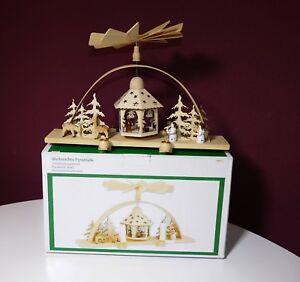 Weihnachtspyramide-Pyramide-Holz-35cm-Sonderposten-Geschaeftsaufloesung-L61