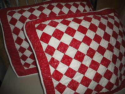 AMERICAN LIVING MODERN COUNTRY RED WHITE CHECK (PAIR) STANDARD PILLOW SHAMS