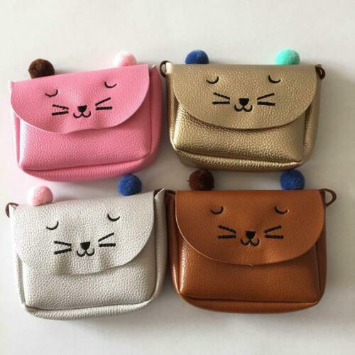 Children Kids Girls Cat Tote Handbag Shoulder Messenger Bags Crossbody Wallet UK