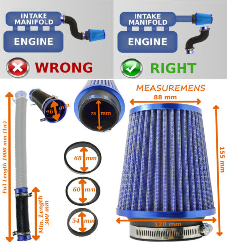 UNIVERSAL INDUCTION KIT WITH FILTER ADAPTERS FEED PIPE BLUE//CHROME – Kia