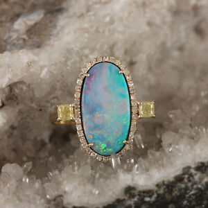 New-Solid-14K-Yellow-Gold-Genuine-1-91-ct-Real-Doublet-Opal-Ring-Diamond-Jewelry