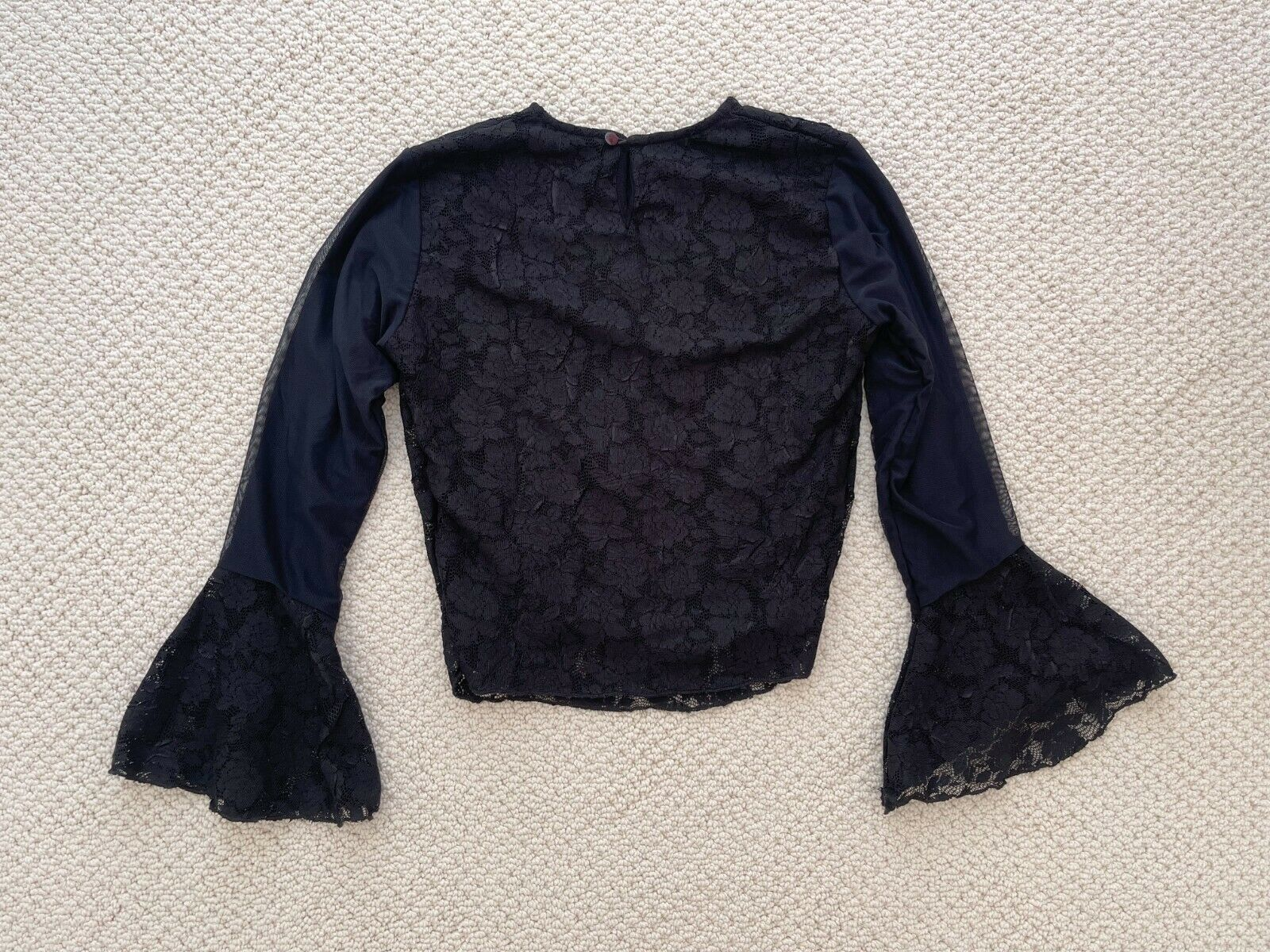ANNA MEYER Paris Black Lace Blouse Top with Flare… - image 4