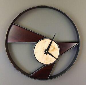 Modern Maple Wood And Metal Wall Clock Rustic Modern Decor Clock