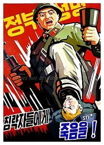 North KOREA Anti-American Propaganda Poster Print BASKETBALL A3 #D109