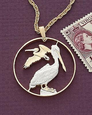 "Pelicans Pendant & Necklace. British Virgin Islands , 1-1/4"" diameter ( # 47 )"