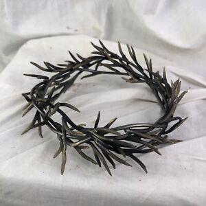 Corona Di Spine bagnata Ottone 9 cm passione ihs Gesu Cristo Ecce Homo