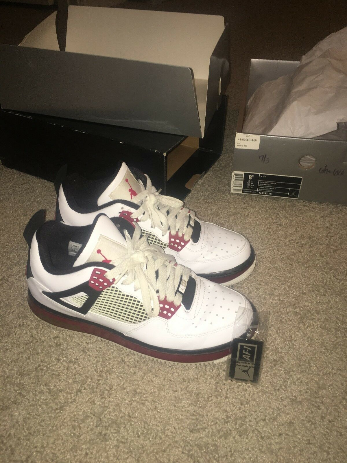 separation shoes 5a3f2 7411a Nike Air Jordan 4 4 4 IV Fusion White varsity Red black Air Force AF1 AJF4  size 8.5 6a9982