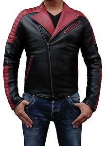Veste en cuir noir pour homme