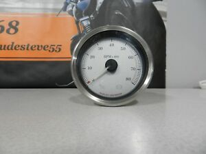 Harley-Davidson-Touring-Silver-Face-Tachometer-Gauge-With-BrushedTrim