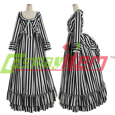 Katrina Van Tassel Sleepy Hollow Victorian stripe Dress Gothic Costume