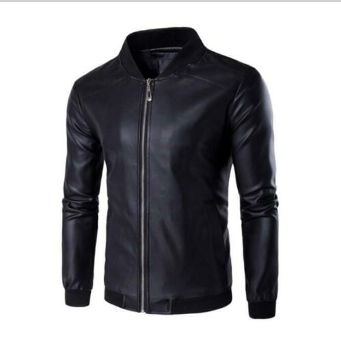 Hot Sale Solid Color Zipper Men Leather Jacket Overcoat Plus Size Casual Hot New