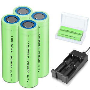 Batteries-2600mAh-18650-Rechargeable-3-7V-Flat-Top-RC-Battery-Case-With-Charger