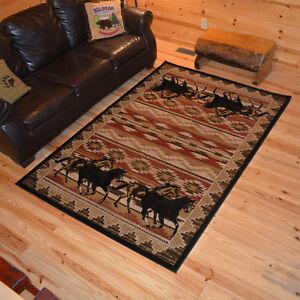 Southwestern Lodge Cabin Horse Horses Area Rug Free Shipping Ebay