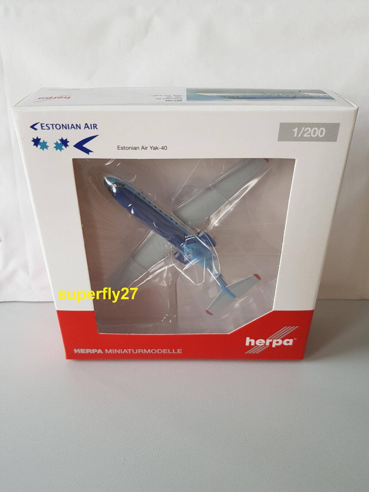 1 200 Herpa Wings 557153 sobrela air Yakovlev yak-40, reg. es aar, nuevo & OVP