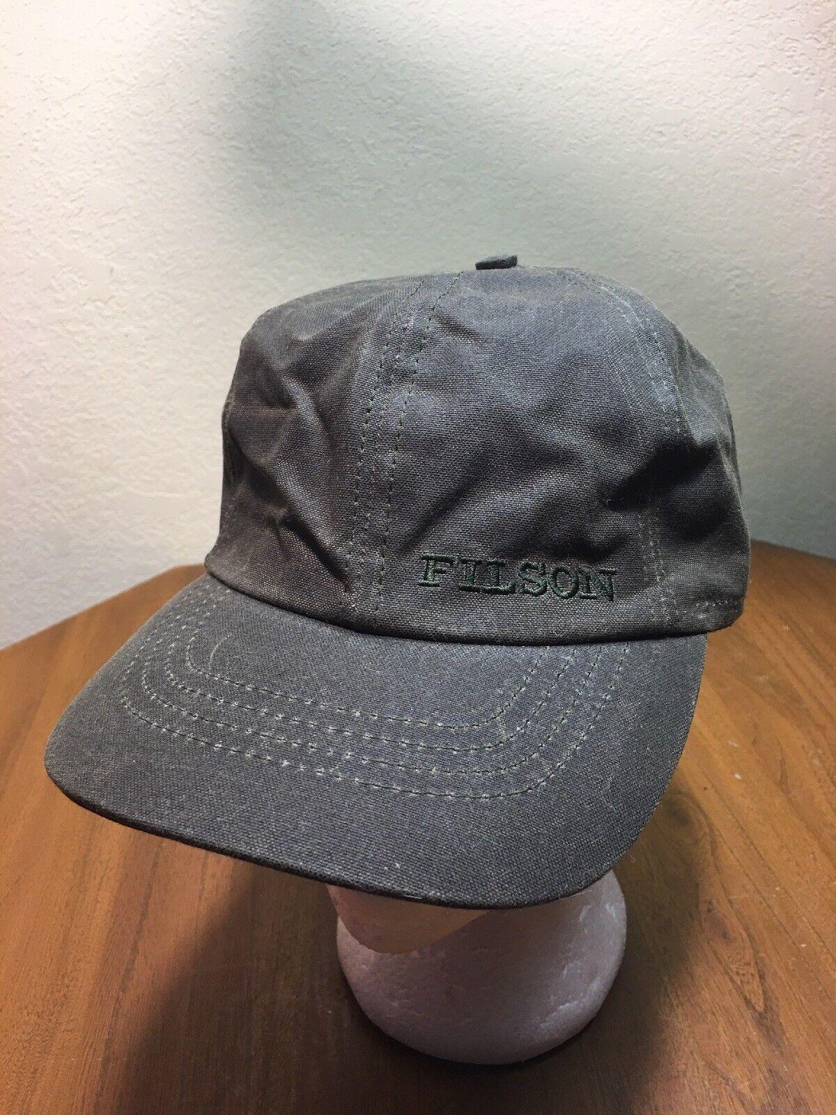 CC CC CC Filson Oiled Tin Cloth Insulated Sz S Otter Green Cap Hat Tuck Away Ear Flaps d31563