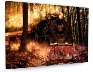 Details About Stunning Abstract Forest Fire Steam Train Canvas Picture Print Wall Art 5051