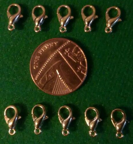 10 Homard Fermoirs plaqué or 10 mm Bijoux Making Findings Fasteners