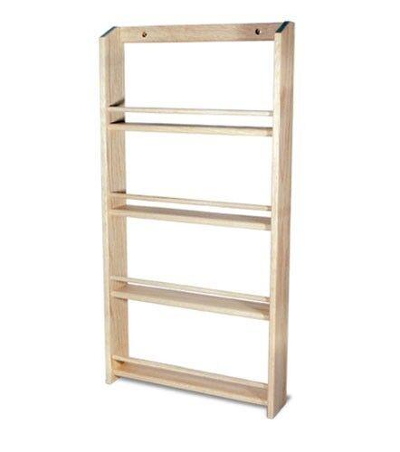"""Solid OAK Wood Spice Rack / 26.5""""H x 13.75 """"W / Wall Mount Wooden Spice Rack"""