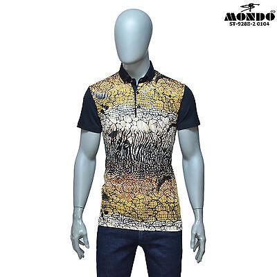 Mondo Men/'s Italian Fashion multicolor Short SLEEVE Polo shirt Snake Pattern
