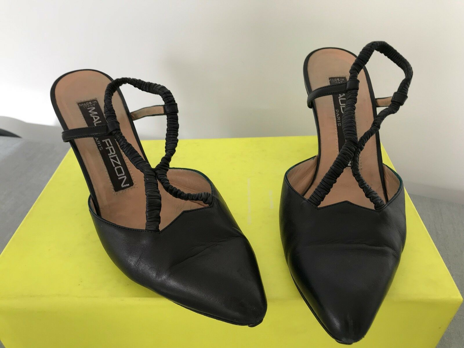 French Designer Maud black Frizon black Maud leather stiletto sling back shoes 2bdcbe
