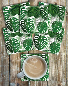 Monstera-Leaves-and-Palms-Square-Drinks-Coasters-Set-of-6-Non-Slip-Neoprene